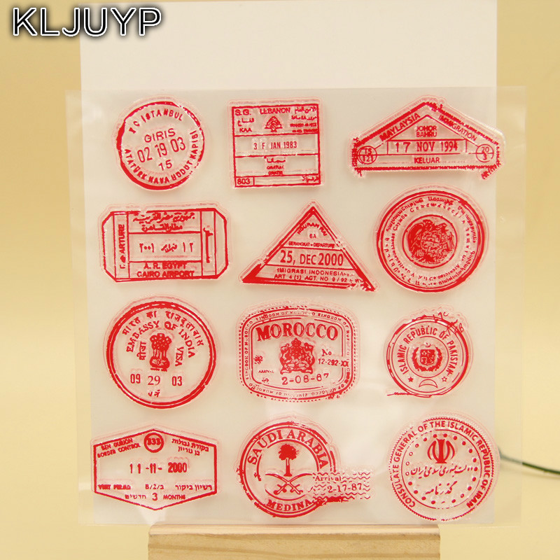 KLJUYP British Postmark Transparent Clear Silicone Stamp/Seal for DIY scrapbooking/photo album Decorative clear stamp sheets lovely animals and ballon design transparent clear silicone stamp for diy scrapbooking photo album clear stamp cl 278