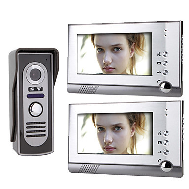Home 7 Inch Color TFT LCD Video Door Phone Bell intercom System 1 Camera Night Vision 2 Monitor 7 inch color tft lcd wired video door phone home doorbell intercom camera system with 1 camera 1 monitor support night vision