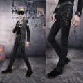 Watch ! Vintage new arrival Grey mens jeans slim personality punk zipper rivets skinny jeans male high quality european