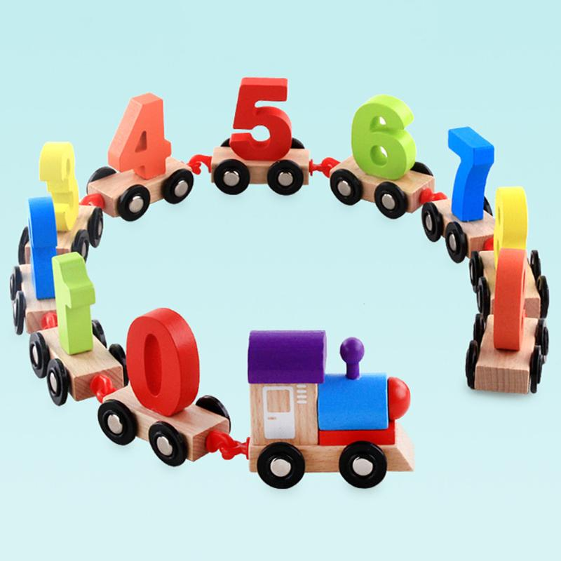 Wooden Digit 0-9 Numbers Mini Train Toy 11Pcs Individual Figures Carriages Hook Railway Educational Numbers Cognition Toy Train