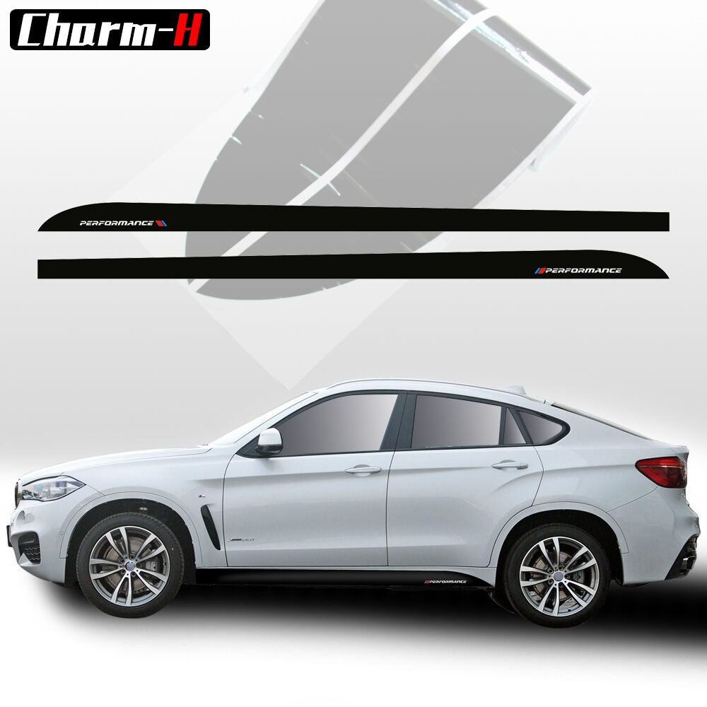 2pcs M Performance Side Skirt Sill Racing Stripe Decals Stickers for BMW X6 F16 2015-Present 5D Carbon Fibre/Gloss/Matte Black 2007 bmw x5 spoiler