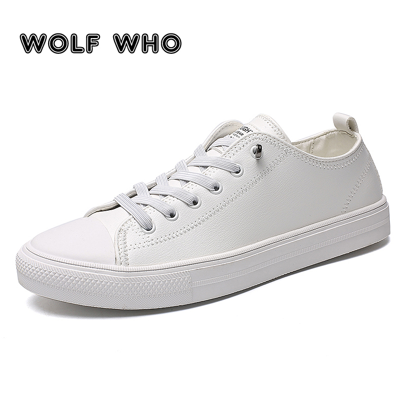 WOLF WHO Men's shoes 2018 Fashion casual white board shoes Breathable sneakers Male Leather Slip On buty meskie krasovki X 051
