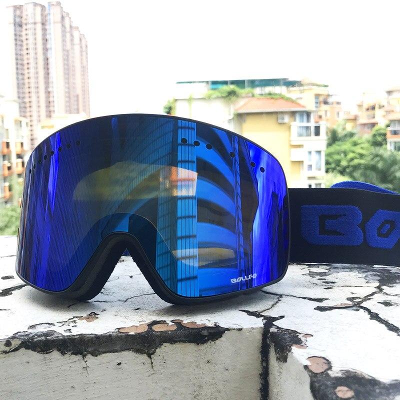 Double couche magnétique lentille lunettes de Ski masques Anti-buée UV400 lunettes de Snowboard lunettes de Ski lunettes pour hommes femmes avec étui - 5