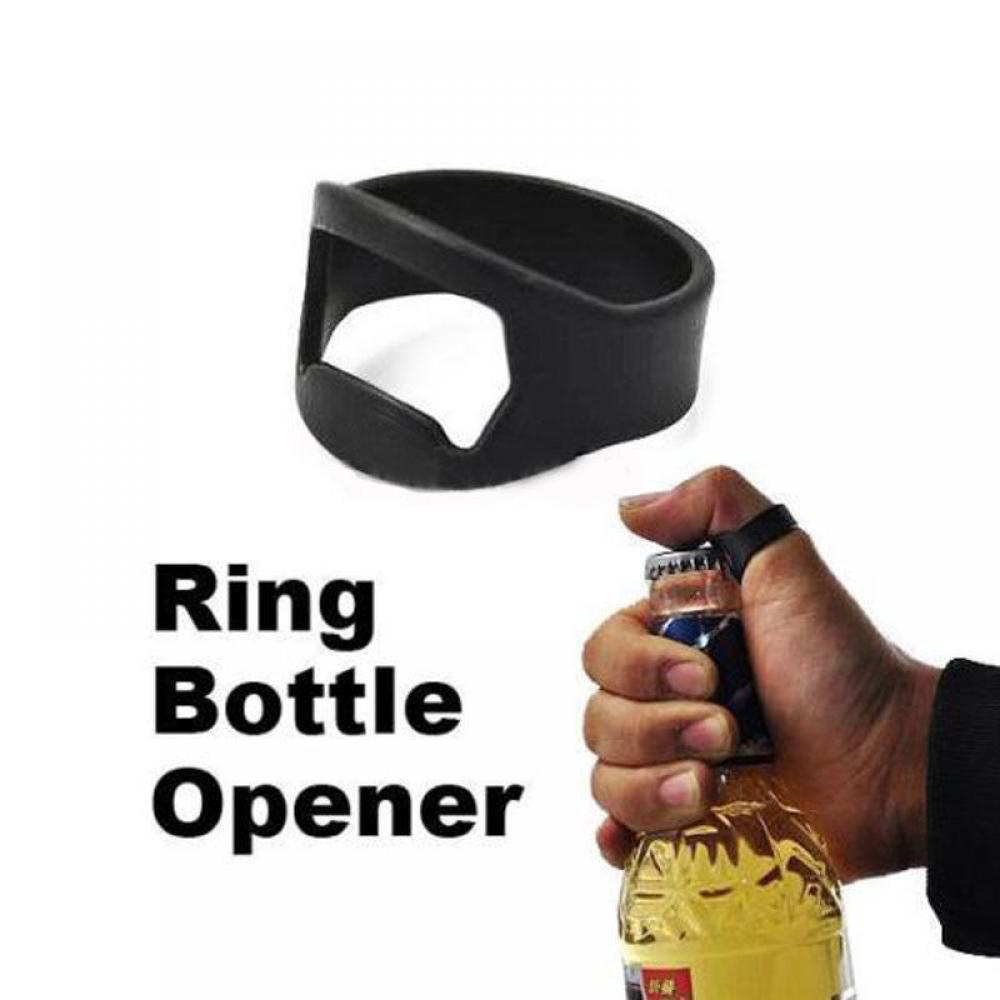 New Creative Stainless Steel Beer Openers Finger Ring Ring-Shape Beer Bottle Opener Bar And Home Black Metal Tools
