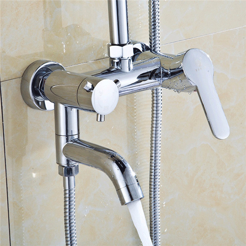 Wall Mount Hot Cold Shower Mixer Faucet Chrome Brass