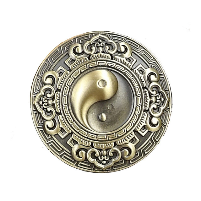 [Himunu] Pure Copper Buckles for Men Do Old Vintage Smooth Buckle Dragon Peony Tai Chi Diagram Carving Belt Buckle DIY Belt Acce