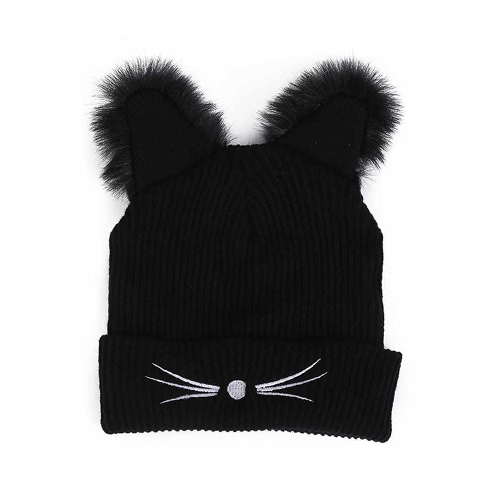 Boné de inverno quente gato de pelúcia pompon gorros chapéu preto malha esqui baggy crochê crânio slouchy bonés unisex bonito kawaii chapéus bonnet