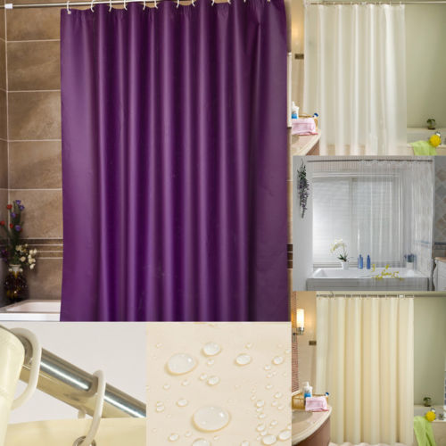New Style Waterproof Bathroom Shower Curtain Solid Color Fabric