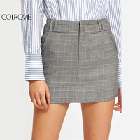 COLROVIE Plaid High Waist Mini Skirt Women Grey Sexy Elegant Slim Work OL Pencil Skirts Fall 2017 Fashion New Pockets Cute Skirt