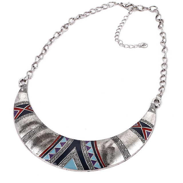Native Collare Silver plated with Tribe Ornaments Moon Symbol