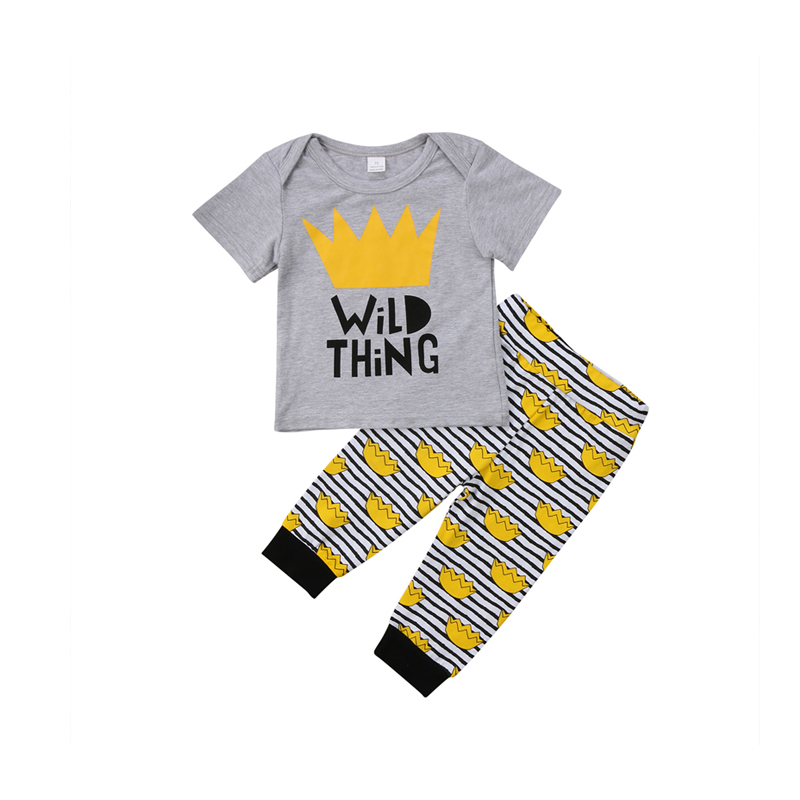 2PCS Fashion Casual Newborn Infant Baby Girl Boy Short Sleeve O-Neck Pullover Letter Print Shirt Tops Striped Pant Outfit Summer autumn 2pcs baby girl clothes set print little animal unicorn horse rainbow long sleeve t shirt tops trousers jeans pant outfit