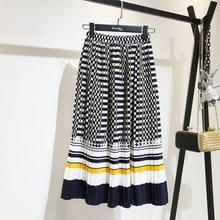 LANMREM 2019 spring Fashion New Black White Dot Contrast Color Pleated Elastic High Waist Skirt All-match Females Bottoms YF129