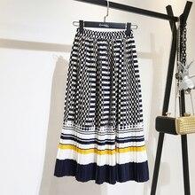 LANMREM 2020 סתיו אופנה חדש שחור לבן דוט ניגודיות צבע קפלים אלסטיות גבוהה מותניים חצאית כל התאמה נקבה של bottoms YF129