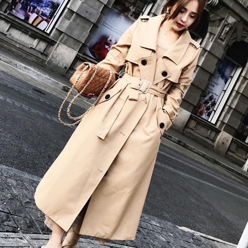 Women   Trench   Coat Fashion 2018 New Spring Autumn Long Overcoat slim waist Windbreaker with belt