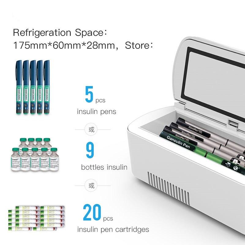 Portable Insulin Storage Cooler Bag Diabetic Insulin Cooler Box Rechargeable Fridge Mini Refrigerator Portable Diabetes Bag Case
