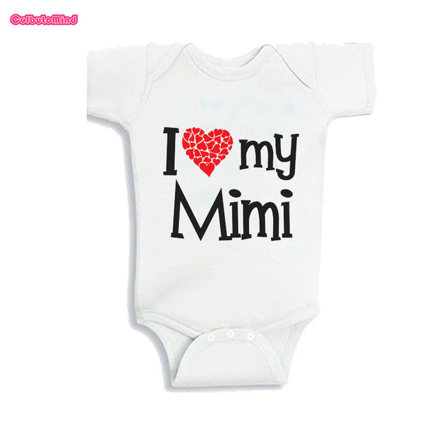 174b5d4ef99aa US $10.0 |Culbutomind My Grandma Mimi Loves me Printed White Short Sleeve  Cotton WhiteBaby Girl Outfit Summer 2017 Baby Body SuitJumpsuit -in ...
