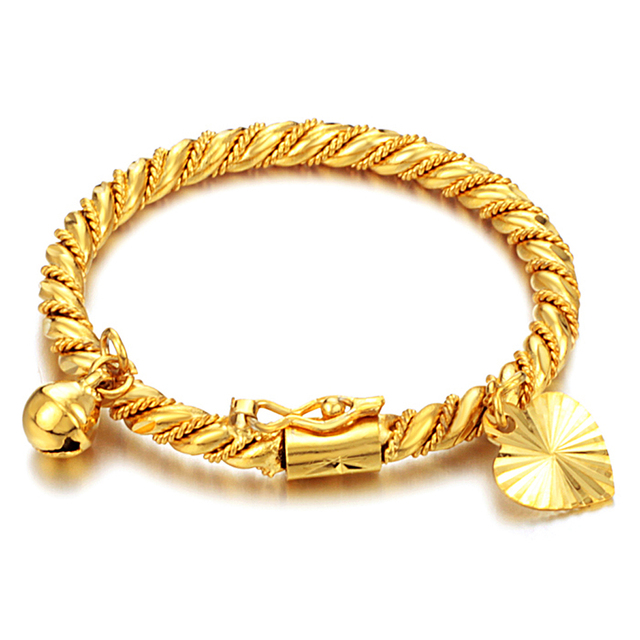 Gold Bracelet Bangle Cuff For Children Kid Boy Baby Heart Pendant Bell Twist Chain Wristband Fashion Jewelry