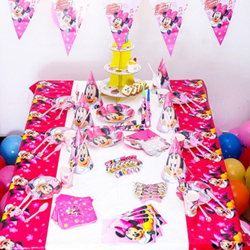 78pcs Kids Birthday Party Decoration Set Birthday Minnie Mouse Theme