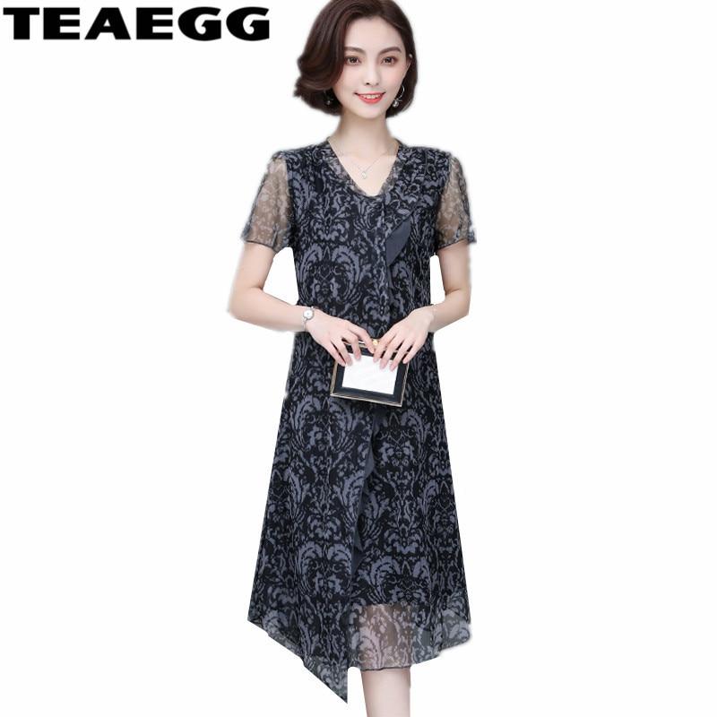 d7a587d129c9 Cheap TEAEGG con cuello en V vestido de Verano para Mujer Plus tamaño 5XL  gasa vestido