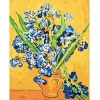 Известные абстрактные Ван Гог ирис цветок рисунок на стене акрил живописи по номерам Краска по количеству раскраски по номерам DY252
