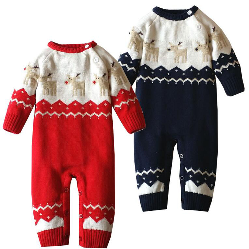 все цены на Baby Boy Clothes Knitted Girl Rompers Winter Newborn Baby Clothes Christmas Warm Deer Baby Rompers Infant Boy Clothes