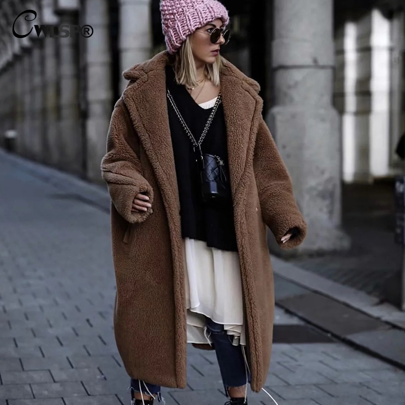 CWLSP Turn down Collar Winter Faux Fur Coat Long Lambswool Thick Plush Warm Outerwear With Pockets Loose Abrigo Mujer QA2776