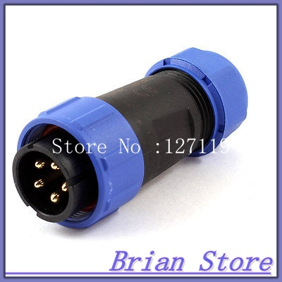 AC 500V 30A 8-12mm Waterproof Cable Gland 5 Pin Male Connector Aviation Plug