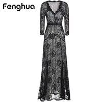 Fenghua Summer Dress Women Party Dresses Elegant Long Balck Lace Dress Silm Plus Size Sexy V