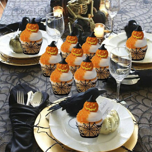 Image 2 - 12PCS/Set Halloween Pumpkin cast lPattern Lace Laser Cut Cupcake Wrapper Liner Baking Cup Muffin For Wedding Birthday Party