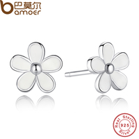 925 Sterling Silver Darling Daisies Stud Earring White Enamel With Clear CZ Compatible With Pandora Jewelry