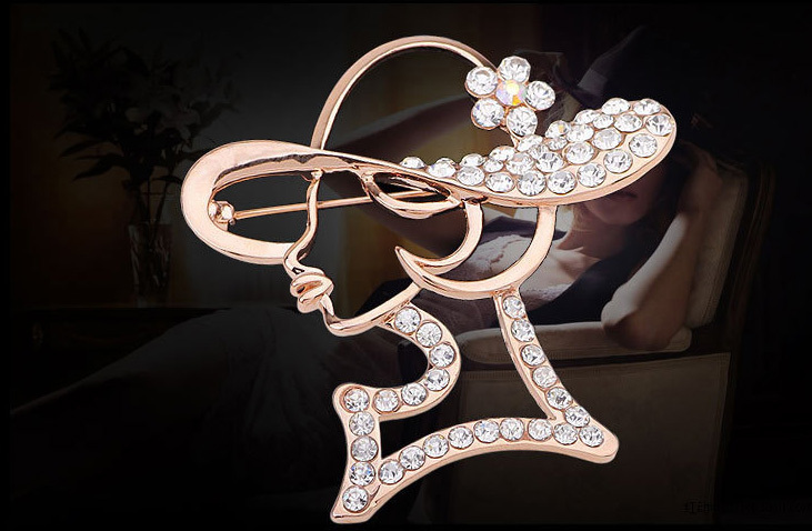 Fashion design Top grade Brooch Milan fashion pink girl shape Brooch Crystal mosaic Brooch handkerchief button