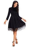 New Autumn Winter Party Dresses A Line Lady Clubwear Women Clothes Lace Hemline Detail Black Long