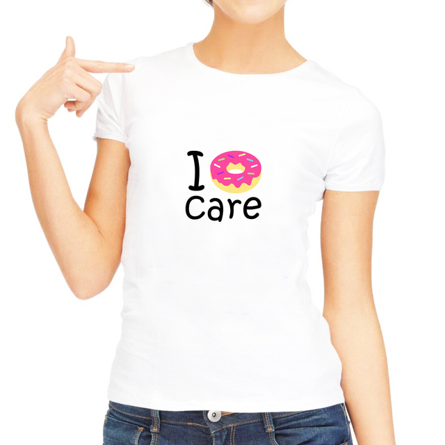 6bd3c751c Trendy I Donut Care Funny Phrase Quote Emoji T Shirt Funny Women Tshirts  Clothes Summer Top Plus Size Cute Shirt