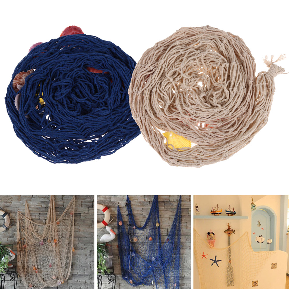 Creative  Decorative Nautical Fishing Net Seaside Wall Beach Party Sea Shell Home Decor Vintage Decorations Kids