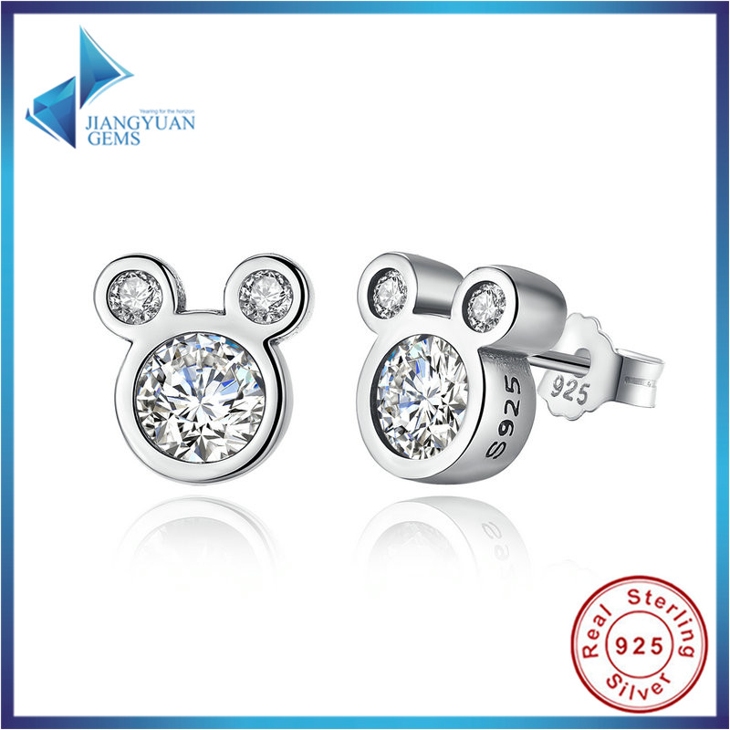 8faf0a164 Popular Fashion 925 Sterling Silver Dazzling Mickey Push back Stud Earrings  for Women & Girls Jewelry PAS457-in Stud Earrings from Jewelry & Accessories