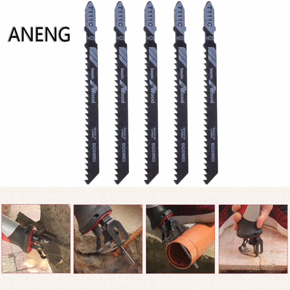 ANENG 5 Pcs T111C 4 Inch HCS T-Shank Jigsaw Blades Set For Wood PVC Plastic Cutting