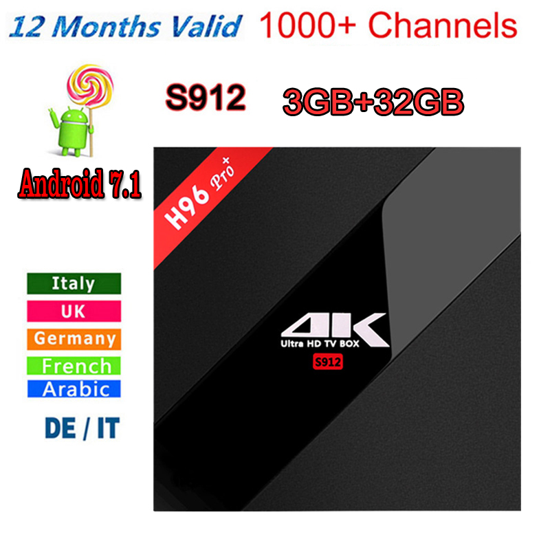Italy iptv French iptv Box New H96 Pro+ 3GB/32GB S912 Android 6.0/7.1 TV BOX HD Smart tv+1 Year europe server 1000+ iptvChannels