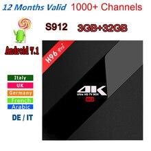Italia iptv iptv Caja Francés Nuevo H96 Pro + 3 GB/32 GB S912 Android 6.0/7.1 HD TV BOX Smart tv + 1 Año europa server 1000 + iptvChannels