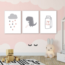 Cartoon Pink Dinosaur Nordic Poster Canvas Painting Cloud Posters And Prints Minimalist Wall Pictures For Kids Room Unframed