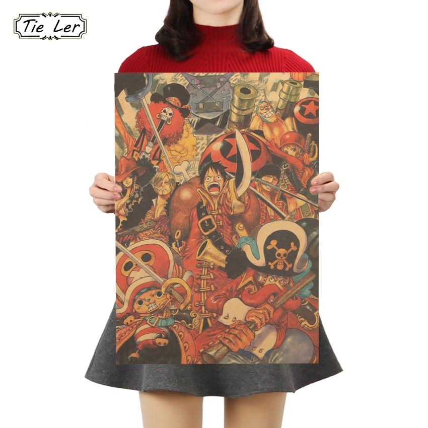 TIE LER One Piece S Style Retro Poster Cartoon Movie Comic Kraft Paper Wall Sticker Retro Decorative Painting 51.5X36cm