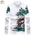 Large Size Dragon Print National Style T Shirt Men 5XL Hip Hop Turtleneck Cotton Tshirt Homme Black White Camisa Masculina 2017