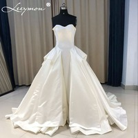 2018 Simple Satin Ball Gown Wedding Dresses Vintage Tiered Vestidos De Novia Backless Plus Size Satin Custom Made Bridal Gowns