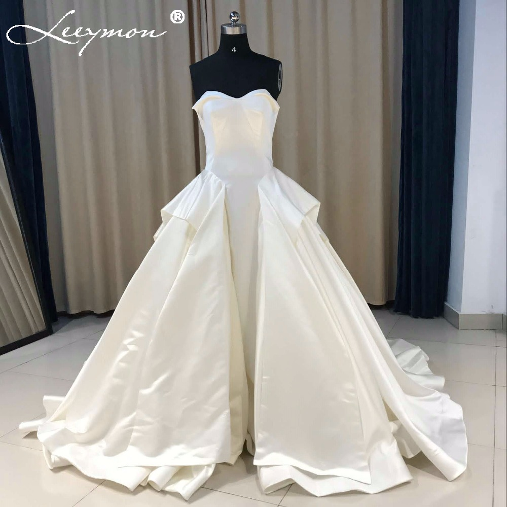 Jieruize White Simple Backless Wedding Dresses 2019 Ball: 2019 Simple Satin Ball Gown Wedding Dresses Vintage Tiered