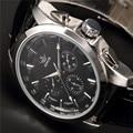 SEWOR Марка Классический Коричневый Кожаный Ремешок Дата День Дисплей Montre Homme Мужской Авто Механические Часы