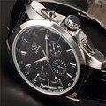Sewor marca classic brown correa de cuero fecha día display montre homme hombres automático reloj mecánico