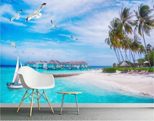 Personalizzato foto 3d murale sfondi per il soggiorno Maldive ...