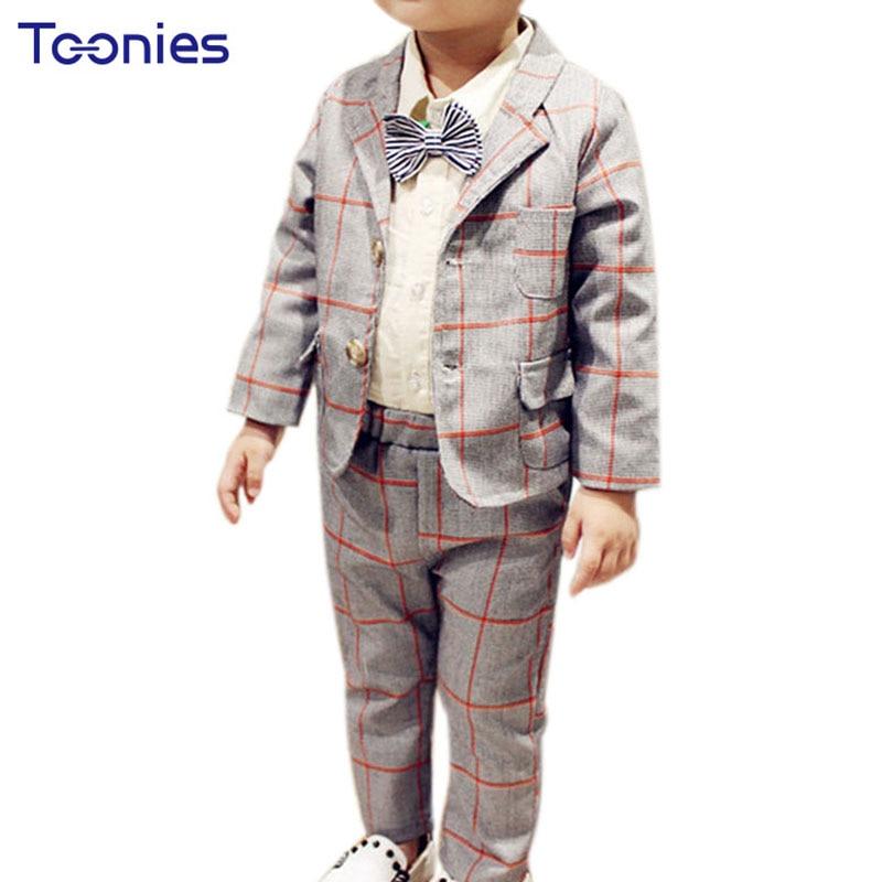 2017 New Autumn Baby Boys Handsome Western-style Cotton Plaid Long Sleeve Coat+ Pants Suits Roupas Infantis Menino Clothing Sets