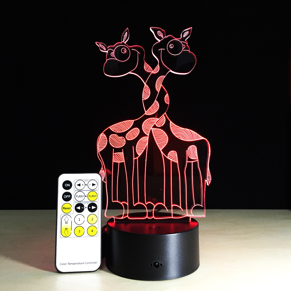Giraffe 3D LED Visual Night Light Creative Cute Animal Colorful Remote or Touch Table Lamp Christmas Birthday Party Decor Gift