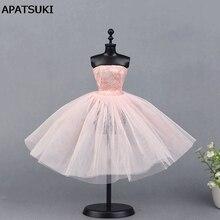 c7ab9b874 الوردي الباليه اللباس ل دمية باربي قطعة واحدة فساتين السهرة vestido ملابس  لل دمى باربي 1/6 bjd دمية الملحقات