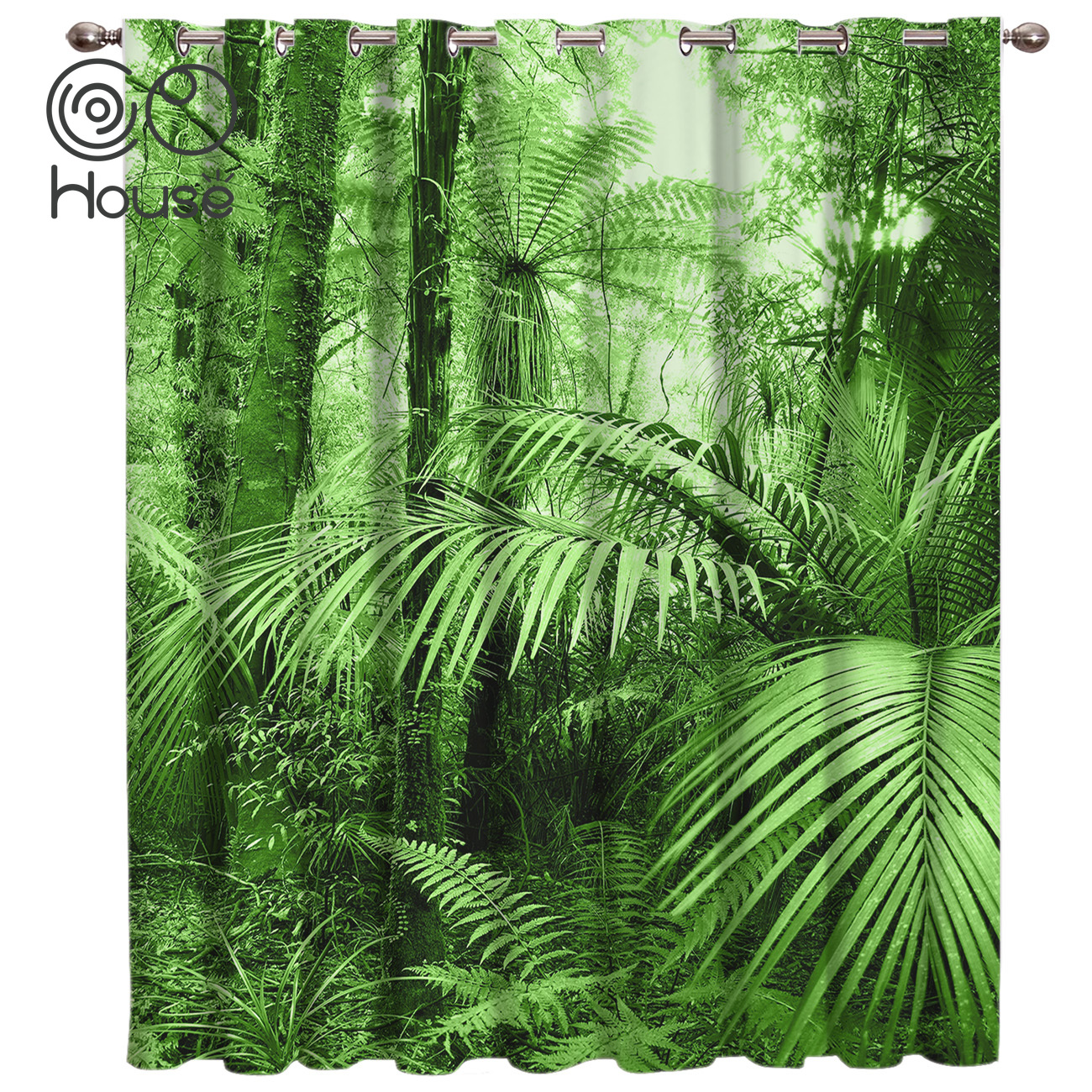 Green Bush Forest Scenery Room Curtains Large Window Window Curtains Dark Living Room Bathroom Outdoor Indoor